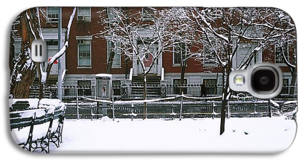Snowcapped Benches In A Park Galaxy S4 Case by Panoramic Images
