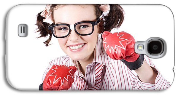 Strong Driven Business Woman Wearing Boxing Gloves Galaxy S4 Case