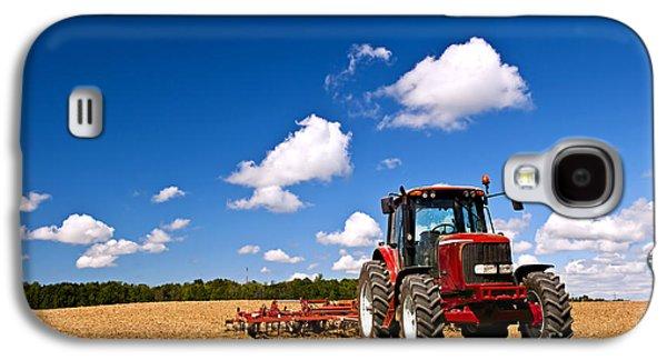 Tractor In Plowed Field Galaxy S4 Case by Elena Elisseeva