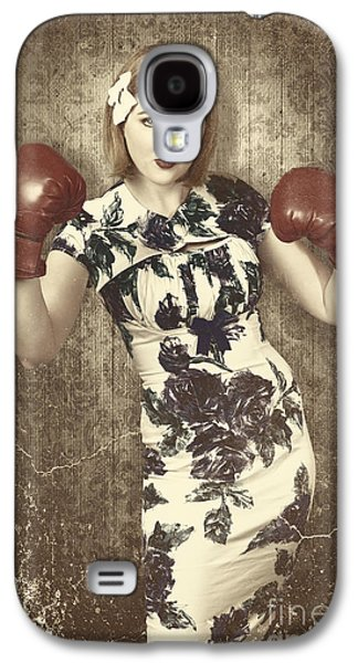 Vintage Boxing Pinup Poster Girl. Retro Fight Club Galaxy S4 Case by Jorgo Photography - Wall Art Gallery