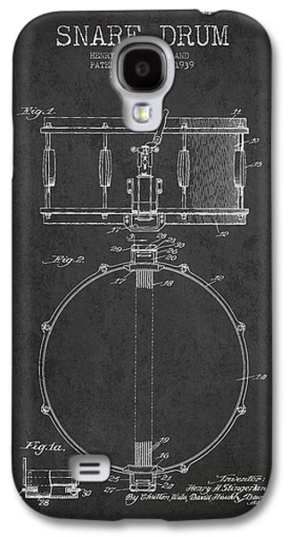 Drum Galaxy S4 Case - Snare Drum Patent Drawing From 1939 - Dark by Aged Pixel
