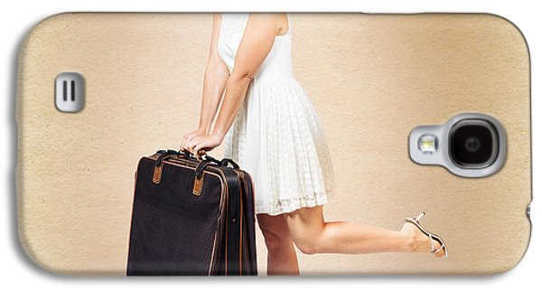 Vintage Travel Female Holding Old Fashion Suitcase Galaxy S4 Case