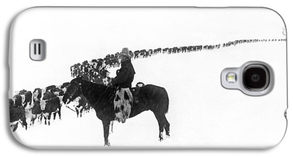 Wintertime Cattle Drive Galaxy S4 Case by Charles Belden
