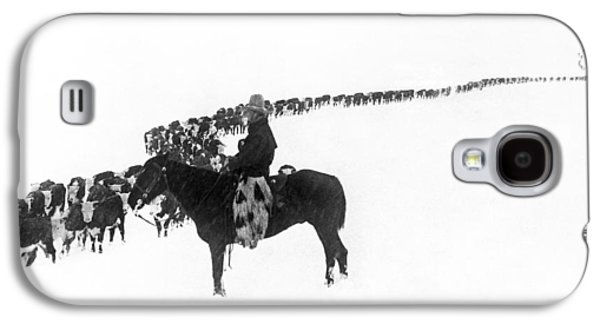 Cow Galaxy S4 Case - Wintertime Cattle Drive by Underwood Archives  Charles Belden