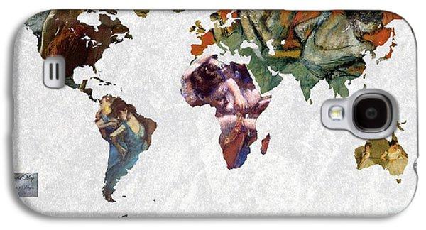 World Map  Degas 1 Galaxy S4 Case by John Clark