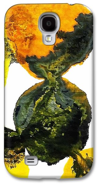 Yellow And Gray Interactions 8 Galaxy S4 Case by Amy Vangsgard
