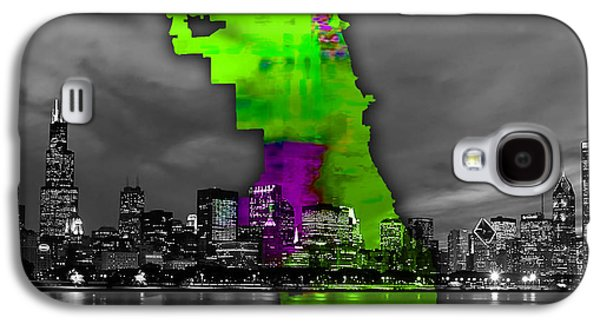 Chicago Map And Skyline Watercolor Galaxy S4 Case by Marvin Blaine