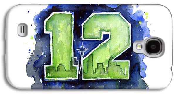 12th Man Seahawks Art Seattle Go Hawks Galaxy S4 Case by Olga Shvartsur