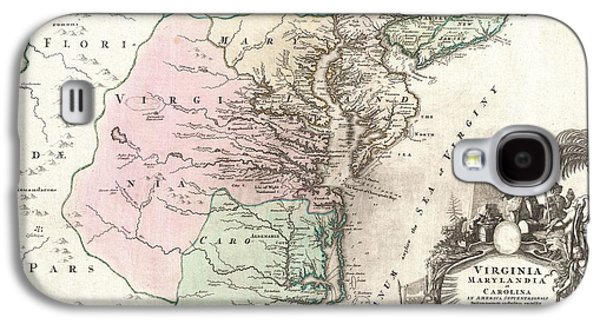 1715 Homann Map Of Carolina Virginia Maryland And New Jersey Galaxy S4 Case by Paul Fearn