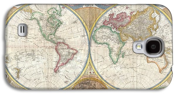 1794 Samuel Dunn Wall Map Of The World In Hemispheres Galaxy S4 Case by Paul Fearn