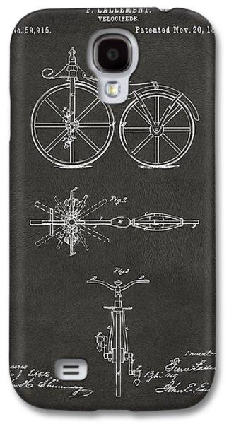 1866 Velocipede Bicycle Patent Artwork - Gray Galaxy S4 Case