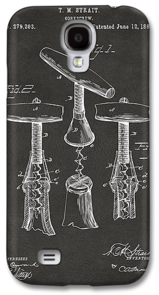 1883 Wine Corckscrew Patent Artwork - Gray Galaxy S4 Case by Nikki Marie Smith