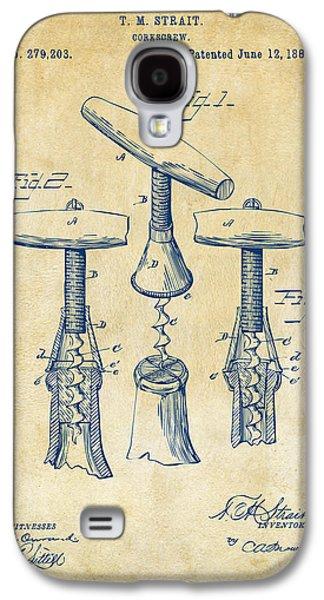 1883 Wine Corckscrew Patent Artwork - Vintage Galaxy S4 Case by Nikki Marie Smith