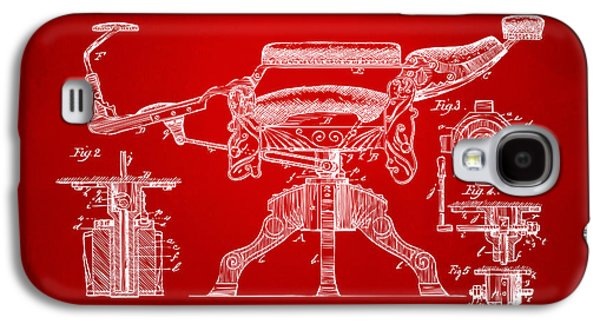 1891 Barber's Chair Patent Artwork Red Galaxy S4 Case