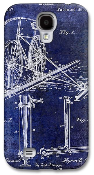 1891 Bicycle Patent Drawing Blue Galaxy S4 Case