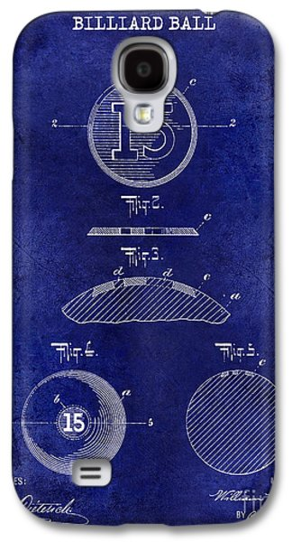 1902 Billiard Ball Patent Drawing Blue Galaxy S4 Case by Jon Neidert