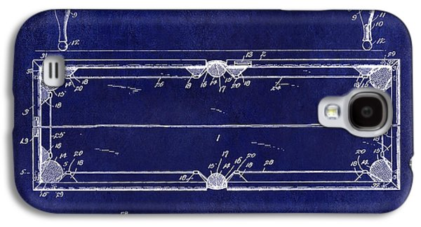 1902 Billiard Table Patent Drawing Blue Galaxy S4 Case by Jon Neidert