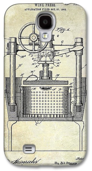 1902 Wine Press Patent Drawing Galaxy S4 Case by Jon Neidert