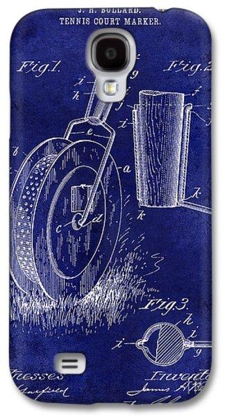 1903 Tennis Court Marker Patent Drawing Blue Galaxy S4 Case by Jon Neidert