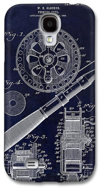 1906 Fishing Reel Patent Drawing Blue Galaxy S4 Case