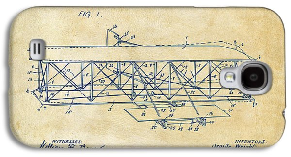 1906 Wright Brothers Flying Machine Patent Vintage Galaxy S4 Case by Nikki Marie Smith
