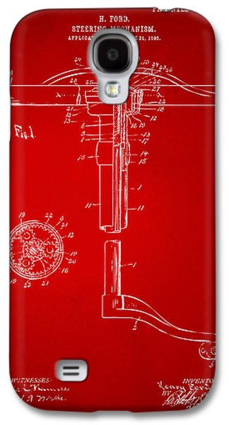 1907 Henry Ford Steering Wheel Patent Red Galaxy S4 Case by Nikki Marie Smith