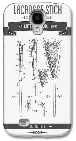 1908 Lacrosse Stick Patent Drawing - Retro Gray Galaxy S4 Case by Aged Pixel