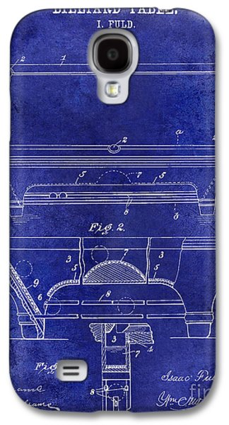 1909 Billiard Table Patent Drawing Blue Galaxy S4 Case by Jon Neidert