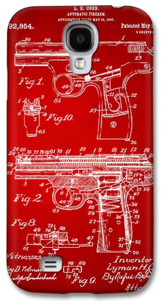 Remington Galaxy S4 Case - 1911 Automatic Firearm Patent Artwork - Red by Nikki Marie Smith