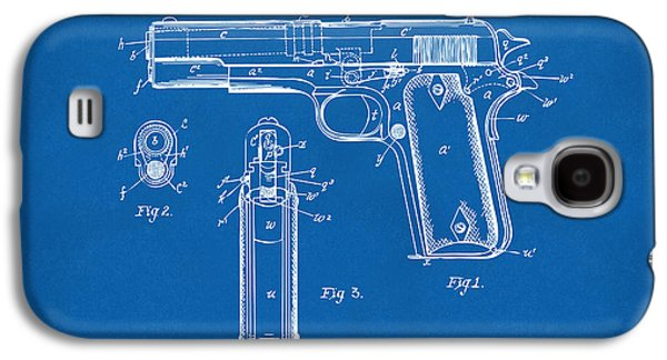 1911 Colt 45 Browning Firearm Patent Artwork Blueprint Galaxy S4 Case by Nikki Marie Smith
