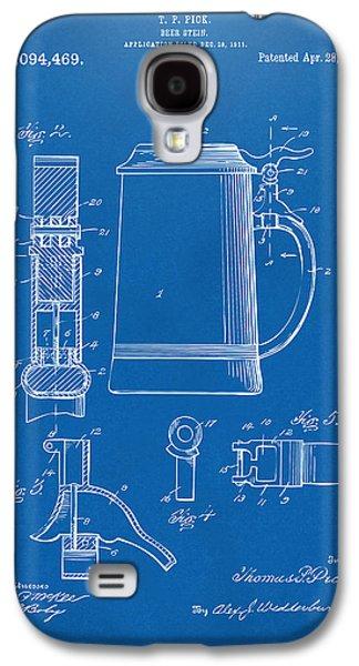1914 Beer Stein Patent Artwork - Blueprint Galaxy S4 Case by Nikki Marie Smith