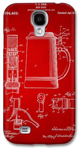1914 Beer Stein Patent Artwork - Red Galaxy S4 Case by Nikki Marie Smith