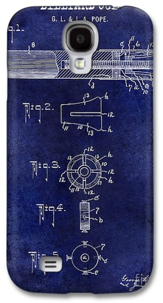 1915 Billiard Cue Patent Drawing Blue Galaxy S4 Case by Jon Neidert