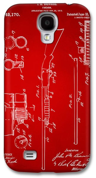Remington Galaxy S4 Case - 1915 Ithaca Shotgun Patent Red by Nikki Marie Smith