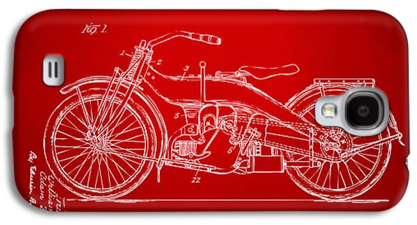 1924 Harley Motorcycle Patent Artwork Red Galaxy S4 Case