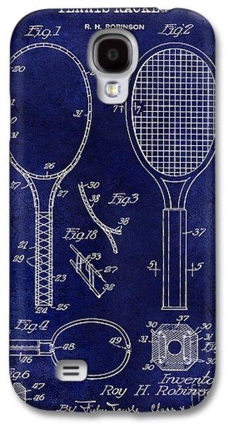 1927 Tennis Racket Patent Drawing Blue Galaxy S4 Case by Jon Neidert