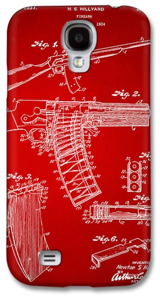 Remington Galaxy S4 Case - 1937 Police Remington Model 8 Magazine Patent Artwork - Red by Nikki Marie Smith