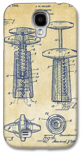 1944 Wine Corkscrew Patent Artwork - Vintage Galaxy S4 Case by Nikki Marie Smith