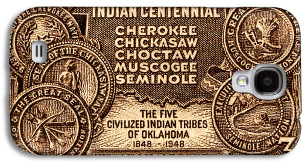 1948 Oklahoma Indian Centennial Stamp  Galaxy S4 Case by Historic Image