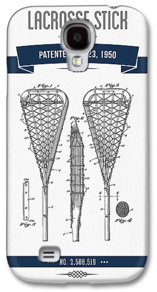 1950 Lacrosse Stick Patent Drawing - Retro Navy Blue Galaxy S4 Case by Aged Pixel