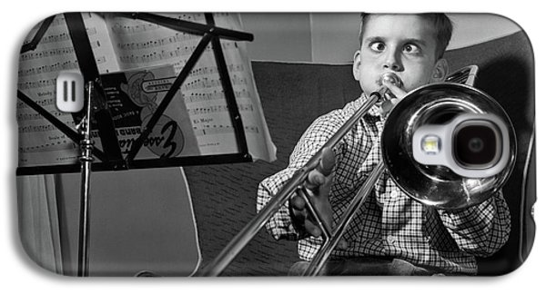Trombone Galaxy S4 Case - 1950s Funny Cross-eyed Boy Playing by Vintage Images