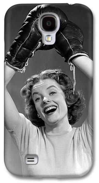 1950s Portrait Of Woman Wearing Boxing Galaxy S4 Case