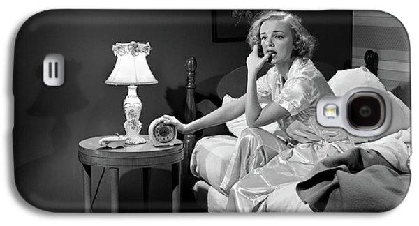1950s Woman Silk Pajamas Sitting Edge Galaxy S4 Case