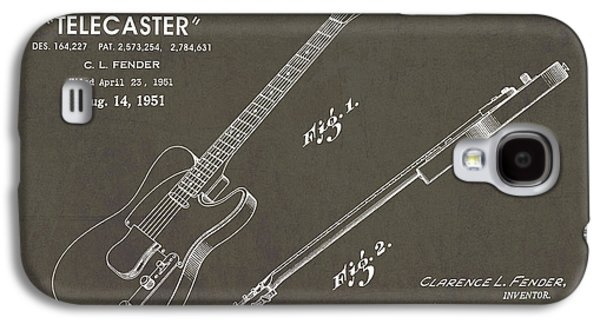 1951 Fender Telecaster Guitar Patent Art In White Chalk On Gray  Galaxy S4 Case