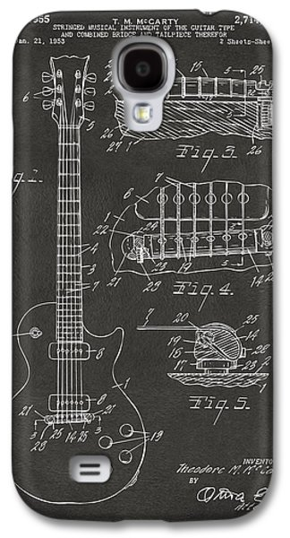 1955 Mccarty Gibson Les Paul Guitar Patent Artwork - Gray Galaxy S4 Case by Nikki Marie Smith