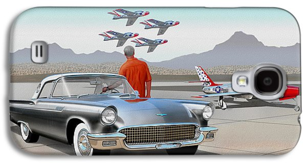 1957 Thunderbird  With F-84 Gunmetal Vintage Ford Classic Art Sketch Rendering           Galaxy S4 Case