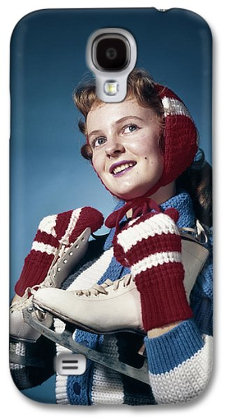 1960s Smiling Woman Wearing Red Mittens Galaxy S4 Case