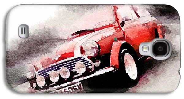 1963 Austin Mini Cooper Watercolor Galaxy S4 Case by Naxart Studio