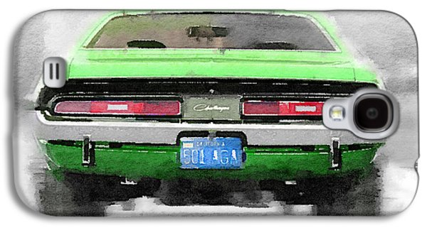 1968 Dodge Challenger Rear Watercolor Galaxy S4 Case by Naxart Studio