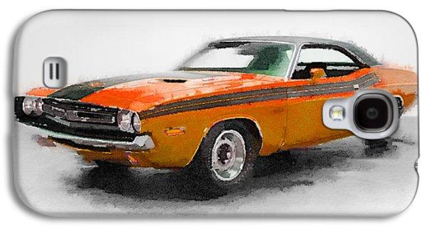 1968 Dodge Challenger Watercolor Galaxy S4 Case by Naxart Studio